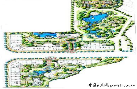 景观规划设计包括总平面图、局部鸟瞰图、局部效果图.是一