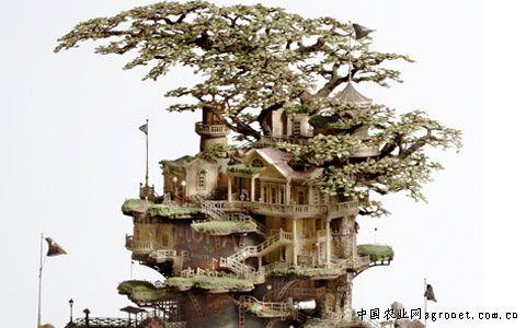 风格独特的盆景树屋 风车灯塔小建筑(图)